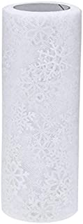 10 Yards Glitter Mesh Snowflake Tulle Roll Organza DIY Artificial Flower Wedding Party Decor Sewing Veil Skirt Accessories Xiaolanwelc (White)