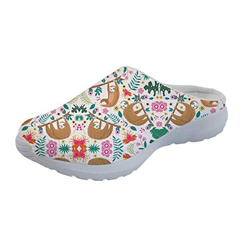 Showudesigns Herren Damen Hausschuhe Pantoffeln Wärme Weiche Herbst und Winter Kuschelige Home rutschfeste Slippers Faultier Sloth - Größe: 38 EU