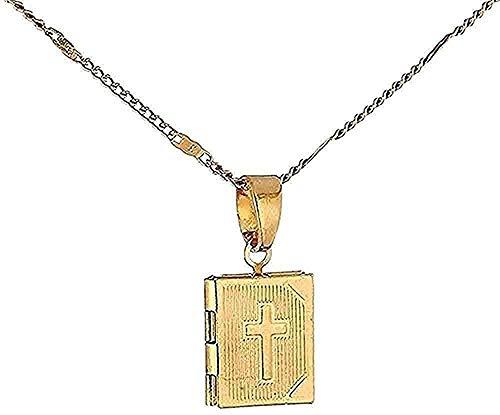 WSBDZYR Co.,ltd Collar de Moda 24K Color Dorado Collar de medallón Cruz Jesús Colgante Collar Moda Unisex Locket Cadena de joyería para Mujeres y Hombres Regalo