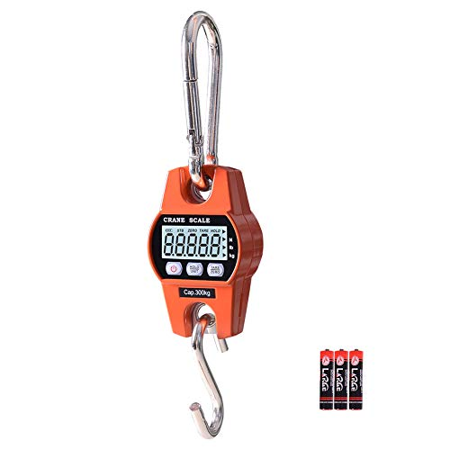 """Fuzion Hanging Scale 600lb High Accuracy Stainless Steel Heavy Duty Crane Scale with 25"""" LCD Display Digital Weight Deer Scale with Hold/Tare for Farms Hunting Fishing and Weighing Luggage"""