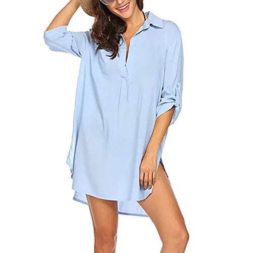 YANFANG Traje De BañO Mujer Blusa Playa Bikini Ropa Faldas PlayacóModo Camisa, Vestido VocacióN Mini TúNica Manga Corta Retro Larga Todo FóSforo,Azul,XL