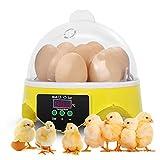 YBSY Incubatrice 7 Uova, Mini incubatrice Digitale Completamente Automatica Uova pollame con regolatore di Temperatura per polli da cova Anatre Oche Quaglia Pappagalli Piccioni Uccelli Altro pollame
