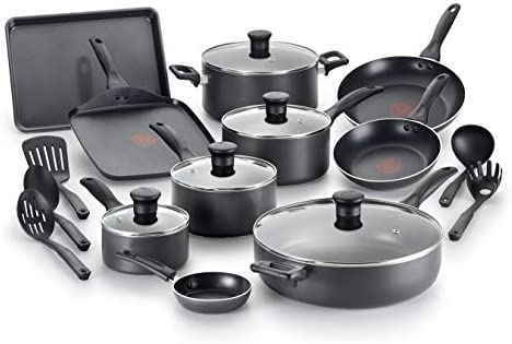 T fal Everything in Kitchen Dishwasher Safe Cookware Set 20 Piece Black product image