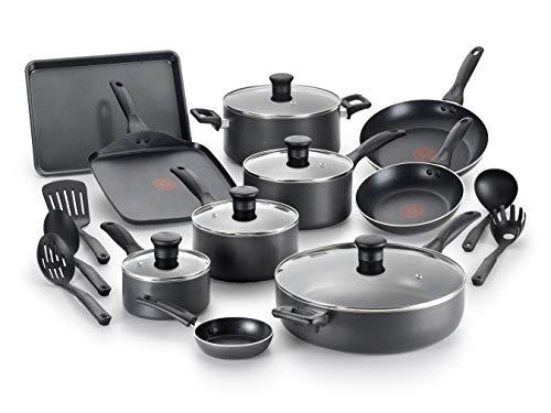 T-fal Everything in Kitchen Dishwasher Safe Cookware Set, 20-Piece, Black