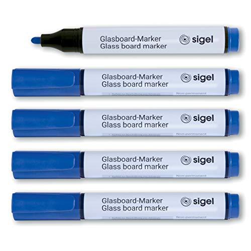 SIGEL GL712 Juego de 5 rotuladores de tiza cap off, borrables, puntas de ojiva de Ø 2-3 mm, azul
