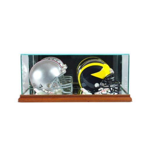 Perfect Cases NFL Doppel-Mini-Fußballhelm, Glasvitrine, walnuss