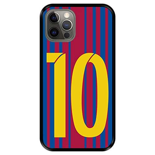 Hapdey Funda Negra para [ Apple iPhone 12-12 Pro ] diseño [ Ilustración fútbol, número 10 ] Carcasa Silicona Flexible TPU