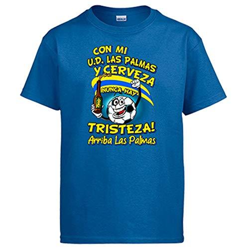 Diver Bebé Camiseta Frase con mi Las Palmas y Cerveza Nunca Hay Tristeza Canarión fútbol - Azul Royal, 5-6 años
