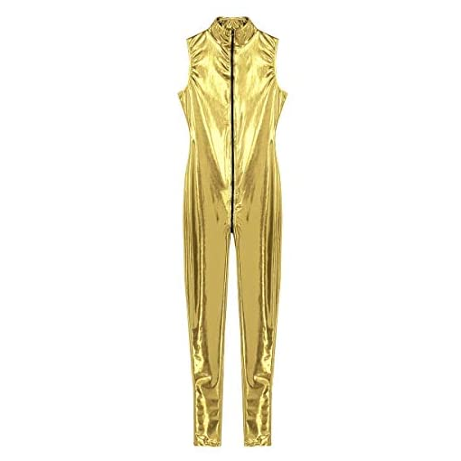 Aislor Women's Shinny Holographic Double Zipper Sleeveless Mock Neck Bodysuit Leotard Catsuit Clubwear