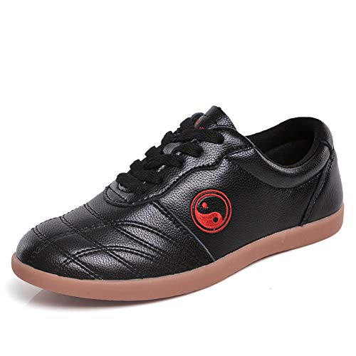 Classic Pink Unisex Tai Chi Wu SHU Kung Fu Schuhe Atmungsaktiv rutschfest Sport Fitnessstudio Sneaker zumTäglich Ausbildung MorgenÜbungen Leder schwarz 43 EU