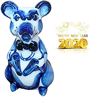 Sweet & Beauty Symbol of The Year 2020 Exclusive Porcelain Gzhel Rat Bill Hand Painted, Height 4 Inch