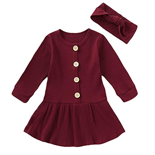 HAPPYMA - Vestido de manga larga para bebé, para invierno, color sólido, algodón, con botones - rojo - 3-4 años