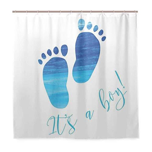 JOOCAR Cortina de ducha de diseño, diseño de huellas de género para bebé, diseño inspirado en el mar, tela impermeable, juego de decoración de baño con ganchos
