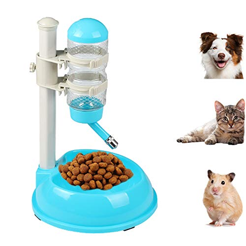 Pawow Pet Dog Cat Automatic Water Food Feeder Bowl Bottle Standing Dispenser with Detachable Pole Height Adjustable Automatically Drinking Water Bottle 500ML (Blue)