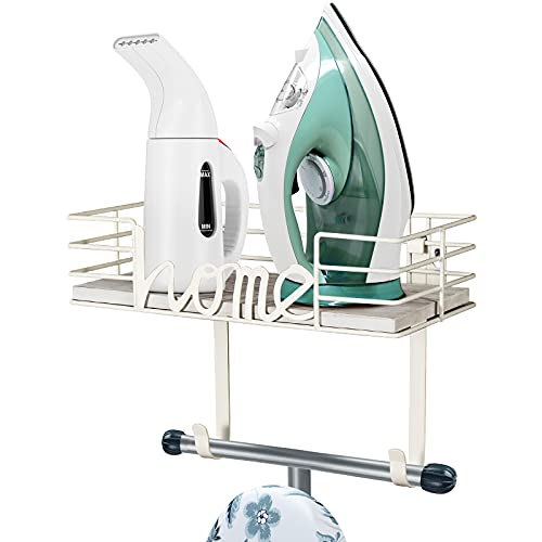 TJ.MOREE Laundry Room Decor-Ironing Board Hanger- Metal Wall Mount Iron and Ironing Board Holder, Laundry Room Organization and Storage with Large Storage White Wooden Base Basket and Removable Hooks