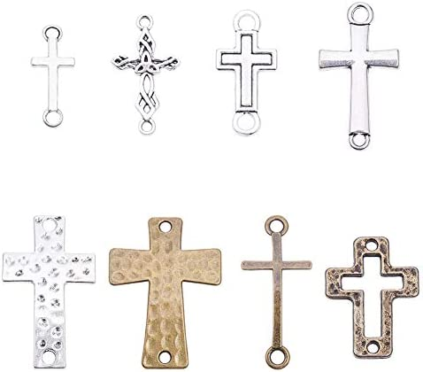 PH PandaHall 8 Style Cross Connector Charms 32pcs Links Cross Connector Charm for DIY Christian product image