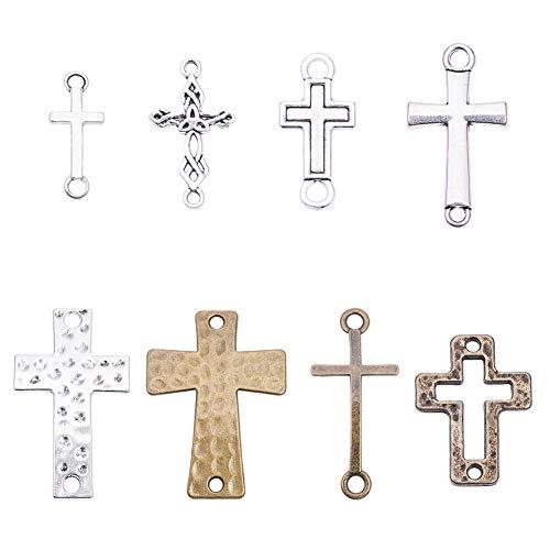 PandaHall Elite sobre 32 colgantes de cruz – Espada de plata de bronce antiguo Santo Ángel Jesús Cruz Cruz Crucifijo de metal para joyería