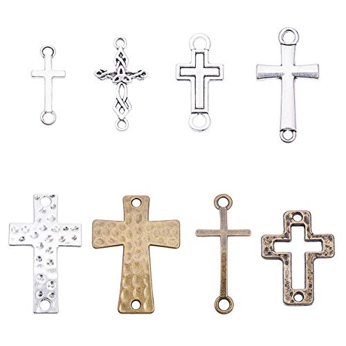 PandaHall 32 Pezzi 8 Stili tibetani Croce Charms in Lega Metallica connettori a Maglie Incrociate per la creazione di Gioielli bracciali