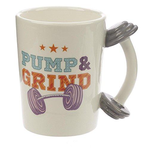 Close Up XL 3D Tasse Pump & Grind mit Hantel - außergewöhnlicher lustiger Kaffeebecher für Männer, Frauen und Fitness-Gurus