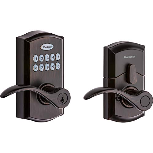 Kwikset SmartCode 955 Keypad Electronic Lever Door Lock Deadbolt Alternative with Pembroke Door Handle Lever Featuring SmartKey Security in Venetian Bronze