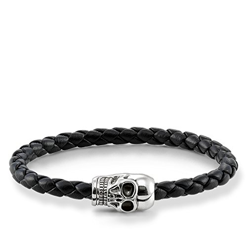 Thomas Sabo Damen Herren-Armband Rebel at Heart Totenkopf 925 Sterling Silber geschwärzt Nappaleder geflochten schwarz Länge 14 cm UB0010-823-11-L17