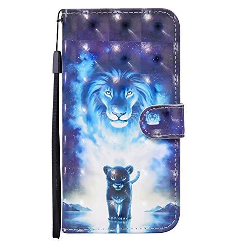 CRABOT Reemplazo para Samsung Galaxy A10/M10 Funda 3D Visual Flip Wallet Cierre Diseño de Libro con Cierre Magnético[Ranuras para Tarjetas] Caja del Teléfono+1*Protector de Pantalla(León Azul)