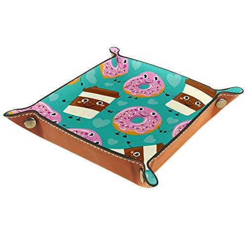 LynnsGraceland Tablett Leder,Comic Kaffeetasse Donut,Leder Münzen Tablettschlüssel für Schmuck,Telefon,Uhren,Süßigkeiten,Catchall-Tablett für Männer & Frauen Großes Geschenk