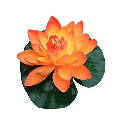 Brussels08 Große künstliche Lotusblüte, schwimmende Seerose, Aquarium, Dekoration für Haus, Garten, Terrasse, Teich, Schwimmbad, Hochzeit, Dekoration, Orange