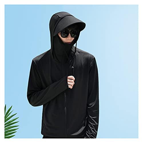 XDQ UPF 50+ Chaqueta de protección Solar, máscara con Capucha con Cremallera con Bolsillos, Ropa ultraligente de Verano, Camisa de enfriamiento con Capucha con Capucha de Secado rápido de Manga Larga