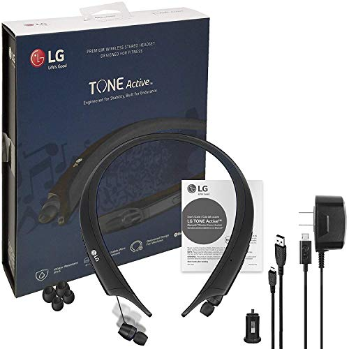 """LG TONE Active Bluetooth Wireless Headset HBS-A80 Blue""""HD"""" Sound - Water & Sweat Resistan with LG Wall & Car Charger (US Retail Packing)"""