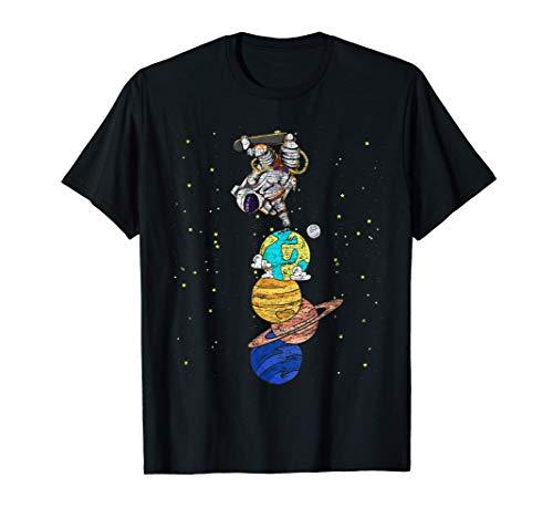 Galaxie Planet Skateboarder Space Skater Weltraum Astronaut T-Shirt