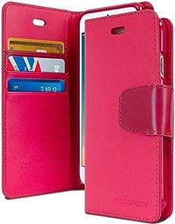 غطاء حافظة حماية ومحفظة لجهاز آيفون 6 و 6 إس من الجلد مع جيوب داخلية وقاعدة تثبيت، زهري