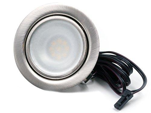 LED Einbaustrahler Möbelleuchte flach 2,7W LED 12V/ DC warmweiß 3000K / 200Lm Farbe Edelstahlgebürstet