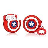 LEWOTE Airpods Carcasa de Silicona Compatible con Airpods de Apple 1 y 2 [Diseño de Dibujos][Niñas o Parejas] (Captain America Shield)