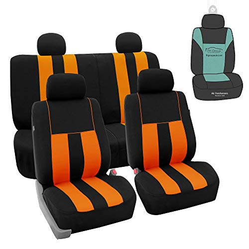 FH Group FB036114 Striking Striped Seat Covers (Orange) Full Set with Gift - Universal Fit for Trucks, SUVs, and Vans
