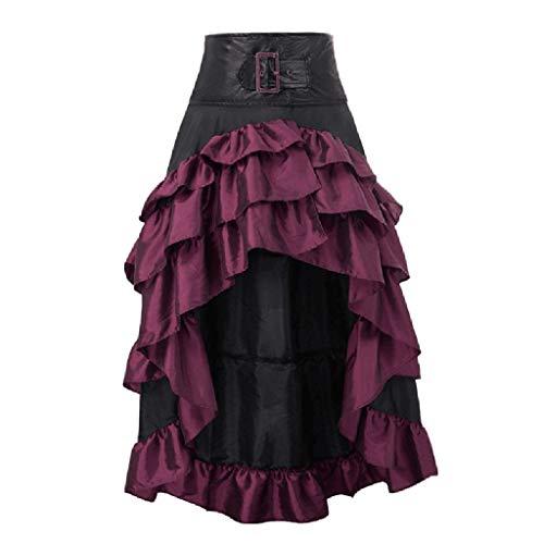 Binggong Steampunk Gothic Kleid Damen 50er Jahre Rock Unregelmäßige Vintage Smoking Partykleid Gekräuselten Retro Mittelalter Kostüm für Fasching