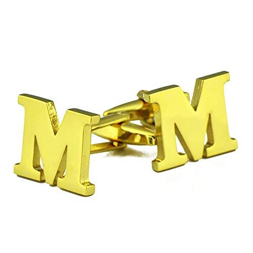 Daesar Männer Manschettenknopf Hemd Gold Buchstabe M Herren Hemd Manschettenknöpfe Edelstahl Geschäft Geschenk mit Box