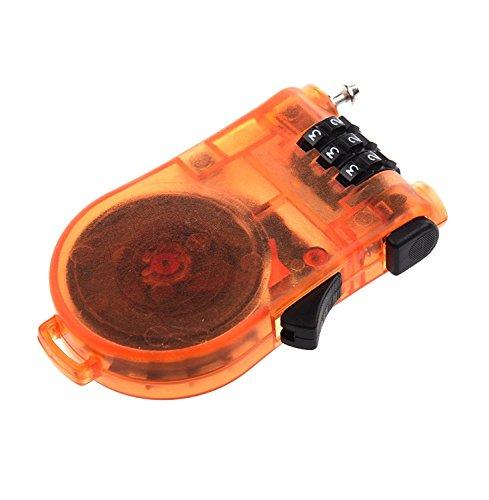 TOOGOO 3 digitos de bloqueo con cable retractil para la combinacion de equipaje Ciclismo - Naranja