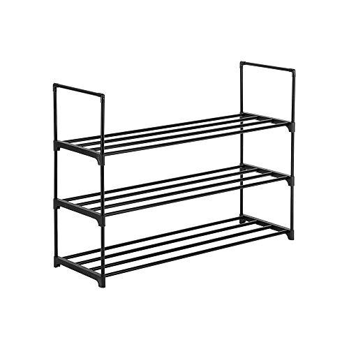 Zapatero organizador de almacenamiento para dormitorio, entrada, pasillo y armario, color negro (3 niveles)