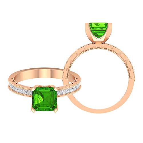 7 MM Asscher Cut Lab Created Tsavorite Ring, D-VSSI Moissanite Princess Cut Ring, Solitaire Ring with Side Stones, Milgrain Gold Ring (AAAA Quality), 10K Rose Gold, Size:UK M