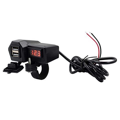Geneic 12 V motocicleta impermeable dual USB cargador adaptador de corriente LED voltímetro con encendido apagado interruptor para GPS teléfono móvil Tablet