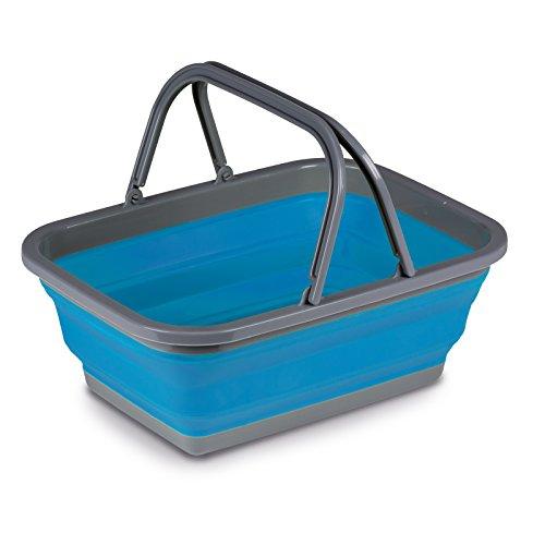 Siehe Beschreibung Leichter, Faltbarer Korb in blau mit Henkeln aus umweltverträglichem TPR • Schüssel Waschschüssel Spülschüssel Einkaufskorb Camping Henkel faltbar