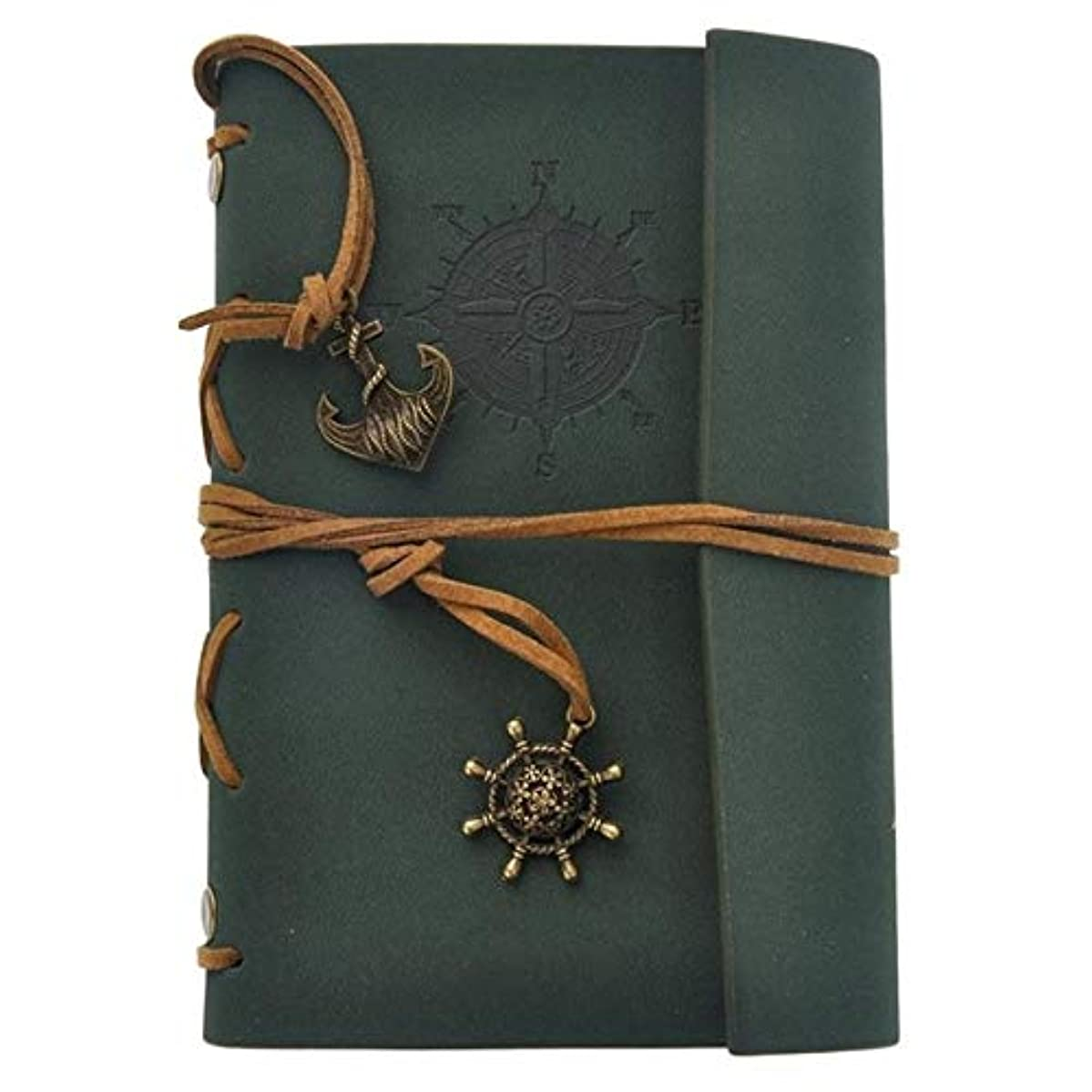 Retro Vintage Pirate PU Cover Loose-Leaf String Bound Blank Notebook Notepad Travel Journal Diary Jotter Gift - Dark Green