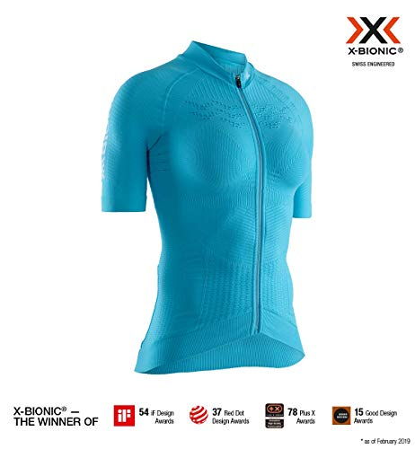 X-Bionic 4.0 Bike Zip Chemise Femme, Effektor Tuquoise/Arctic White, FR (Taille Fabricant : XL)
