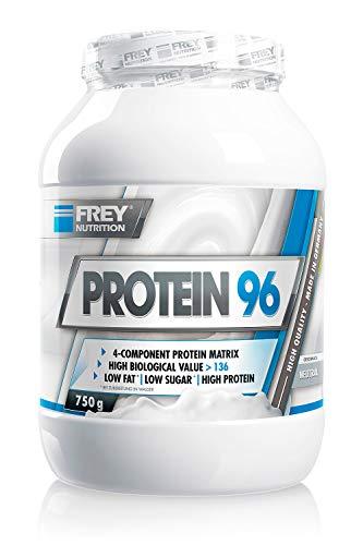 FREY Nutrition PROTEIN 96 (Neutral, 750 g) Ideal für kohlenhydratreduzierte Diätphasen und als Zwischenmahlzeit - Hoher Caseinanteil - low carb - Made in Germany