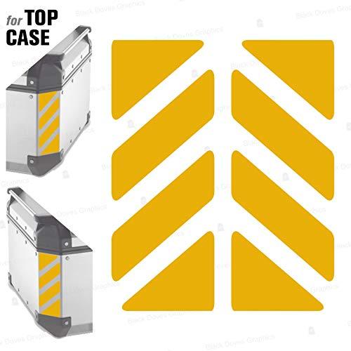 2pcs RIFRANGENTI ADESIVI сompatible con GIVI Baúl Trekker Outback Monokey 37 42 48 L, Aluminio Top Case (Yellow 020)
