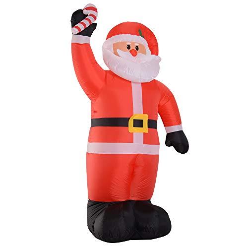 HOMCOM 2.4m LED Inflatable Air Blown Christmas Santa Claus Outdoor Garden Yard Xmas Decor