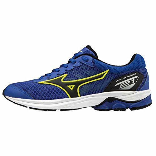 Mizuno Wave Rider 21 Jnr, Zapatillas de Running para Niños, Multicolor (Surftheweb/Black/limepunch 09), 34.5 EU