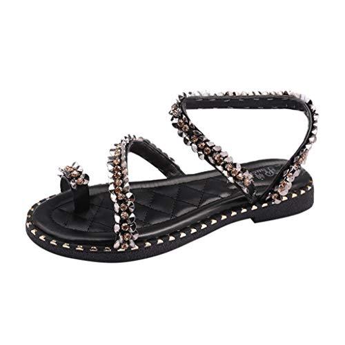 SANFASHION Damen Mode Glitzer Strass Runde Zehe Flache Sandalen Beiläufige Flip Flop Schuhe Roman Flach Zehentrenner