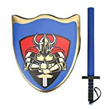 Tbest Knight Shield, Boxing Training Fighting Knight Shield Sword Pretend Play Costume Accessories(Blue Combination)